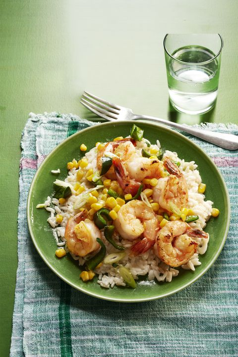 Sautéed shrimp, poblanos and corn with creamy rice