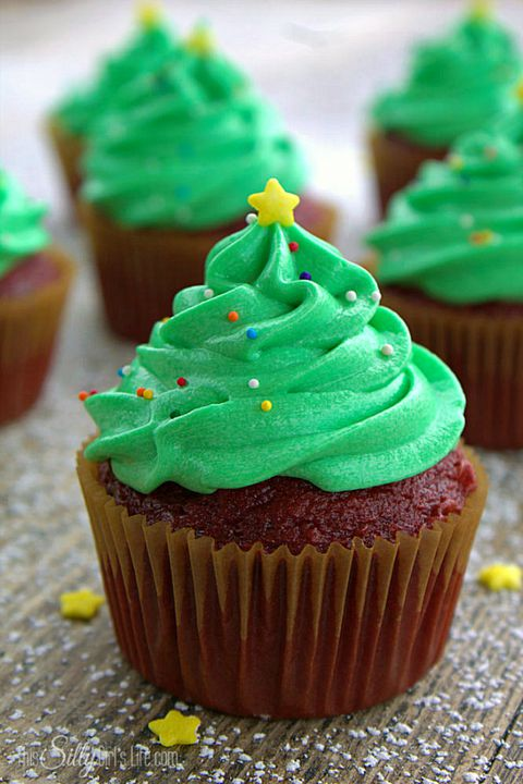 क्रिसमस Tree Frosted Cupcake