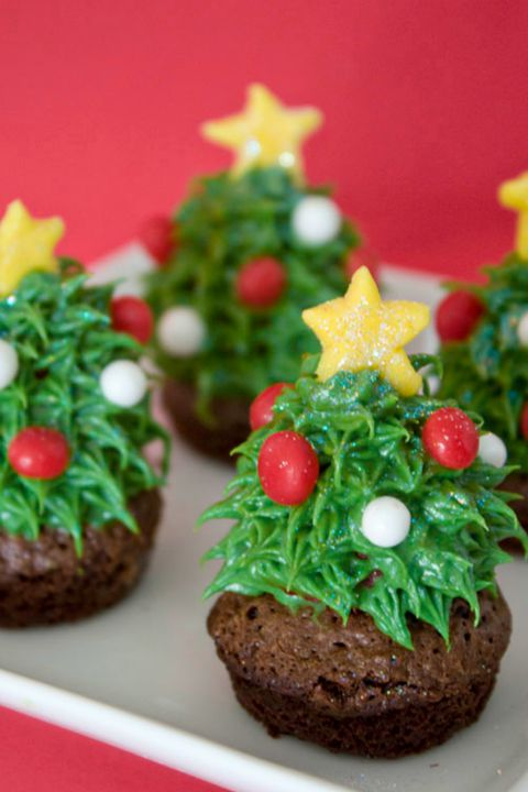 φράουλα Christmas Tree Brownie Bites