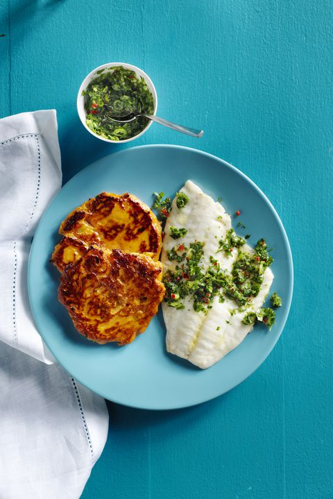 tilapija with sweet potato cakes and chimichurri