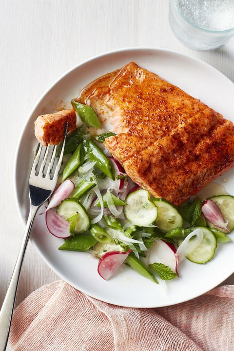 pečen blackened salmon with snap pea salad