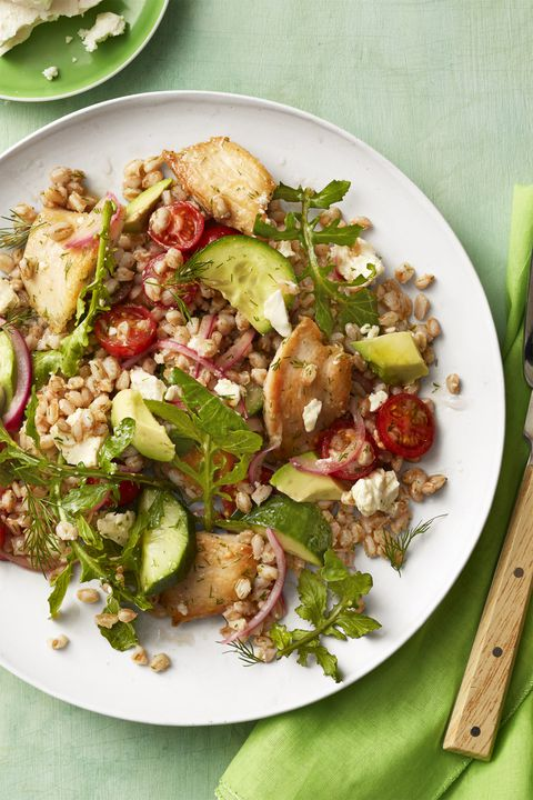 יווני chicken avocado farro salad