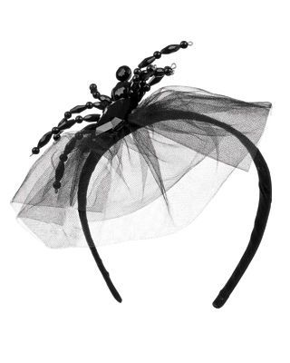 jeweled Spider Headband with black lace veil