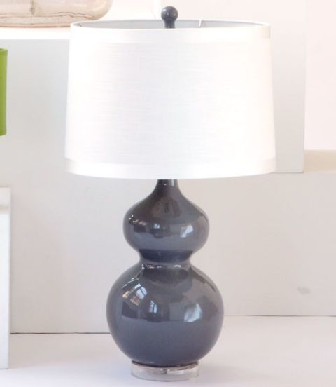 सफेद Drum Shade Double Gourd Slate Gray Ceramic Table Lamp