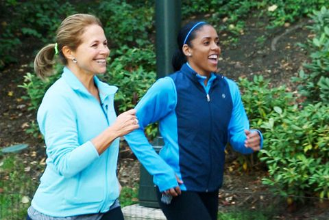 Katie couric running with friend
