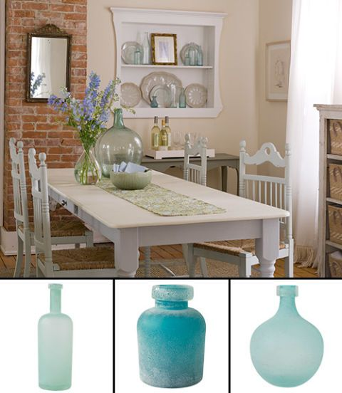vases on dining table