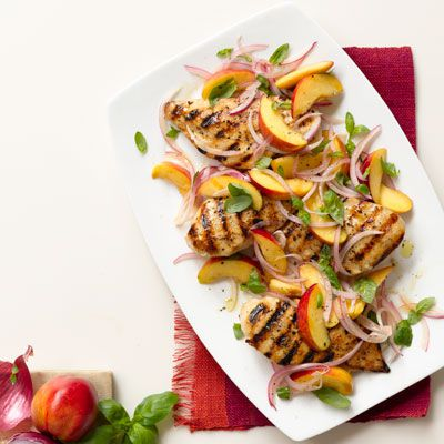 s roštilja chicken with nectarine red onion and basil