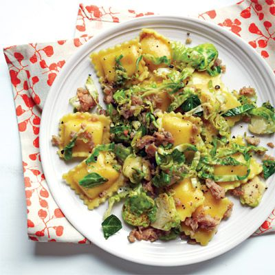 ravioli with sausage and brussels sprouts