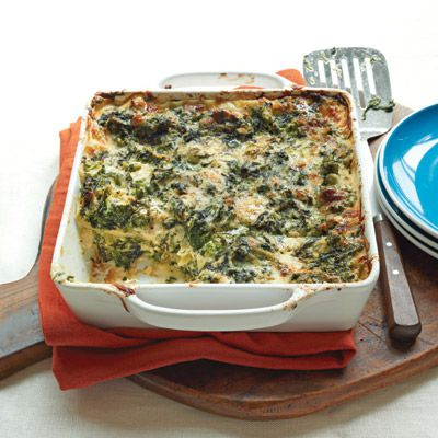 मलाईदार spinach and broccoli lasagna