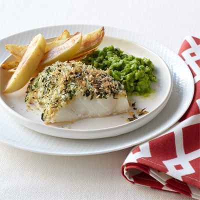 खस्ता fish with smashed peas and oven fries