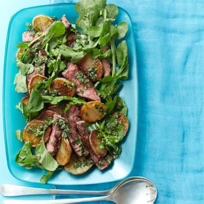 rukolom steak and crispy potato salad with lemony vinaigrette