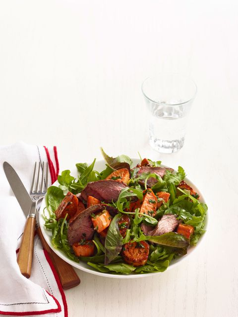 ρόκα sweet potato and spiced steak salad