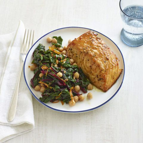 curried salmon with chard and chickpeas