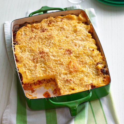 נקניק and pepper polenta lasagna