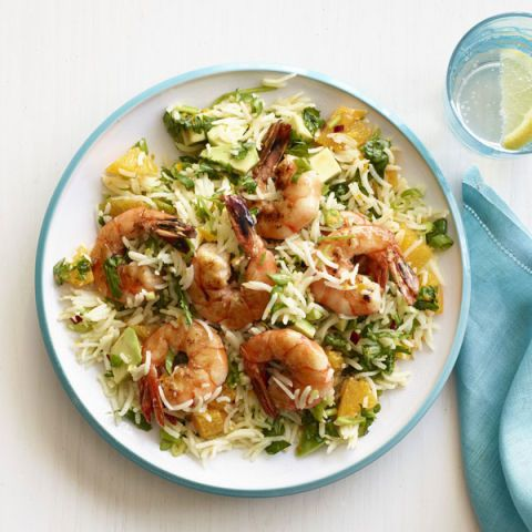 zesty shrimp with chimichurri rice