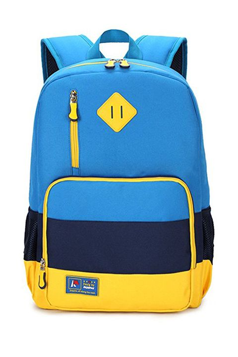 μπλε and yellow backpack