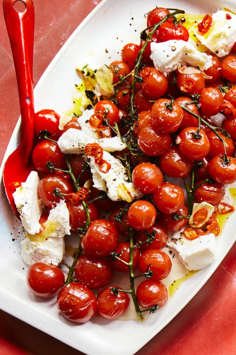 चिली roasted cherry tomatoes and fresh mozzarella
