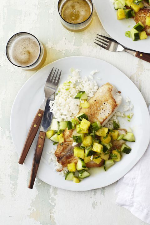 Καμμένος Tilapia with Pineapple and Cucumber Relish