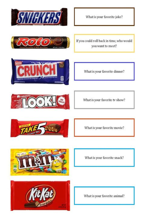 leđa to school activity get to know you candy bars